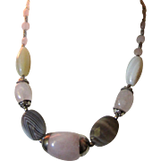 Lovely Estate Cut Stone Necklace, Pretty Colors.