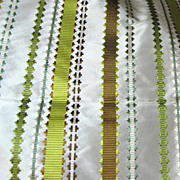 Vibrant 1 1/ 4 Yard Remnant of Vibrant Striped Taffeta Upholstery Fabric