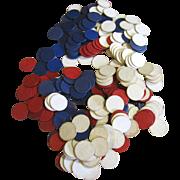 220 Vintage Dennison Designed Paper Poker Chips, circa 1940s