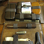 Great Leather Cased Vintage Gentlemans Vanity Set with Contents