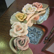 Vintage Vanity Tray, Pretty Porcelain Flowers!