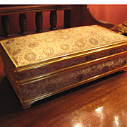 Lovely Vintage Musical Jewelry Box, Gilding and Brocade!