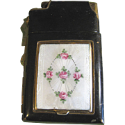 Black Marathon Compact/Cigarette Case/Lighter, Enamel Guilloche,Hand Painted Roses!‏