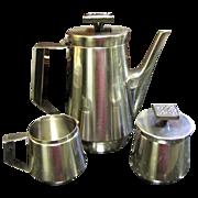 Stanley Roberts Velvet Mid Century Stainless Serving Pot,  Sugar & Creamer