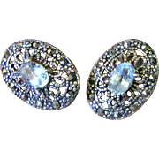 Lovely Aquamarine, Sterling and Marcasite Pierced Earrings