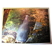 Vintage Metal Etched Artwork, Beautiful Hawaii Waterfall, circa 1953 - 1983
