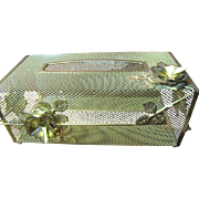 Lovely Vintage Retro Gilt Metal Floral Tissue Box Holder