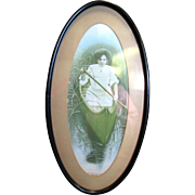 Victorian Lady Sporting Framed Print, Paddling Her Own Canoe