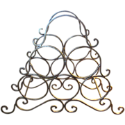 Nice Gilt Wrought Iron Wine Rack with Integral Handle