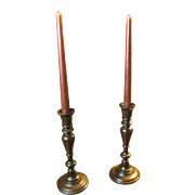 Lovely Pair of Vintage Turned Wooden Candlesticks