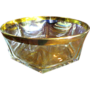 Large Crystal Bowl, Deep Gold Encrusted Rim