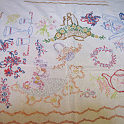 Homespun Embroided Panel, Tablecloth, Coverlet, Some Issues