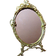 Art Nouveau Small Gilt Brass Mirror, Pretty Frame!