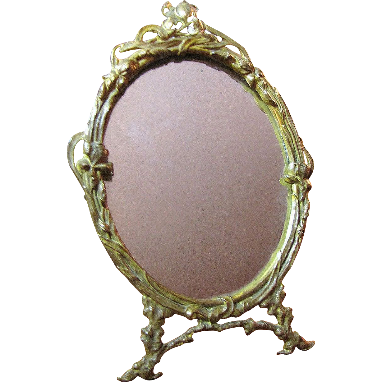 Art Nouveau Small Gilt Brass Mirror Pretty Frame From