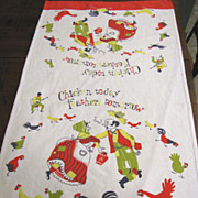 Fun Vintage Tea Towel, Great Country Design