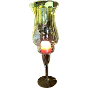 Elegant Glass Candle Holder with Etched Shade