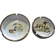 Nice Pair of Vintage Ashtray, Dogs & Ducks, Japan