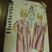 Cutest 1970's Butterick Size 14 Misses Sleepwear Lingerie Pattern