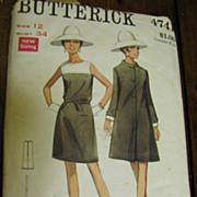 Elegant 1970's Butterick Size 12 Coat & Dress Pattern
