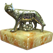 1940's Romulus & Remus Paperweight, Marble Base