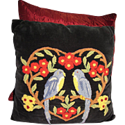 The Best Vintage Hand Embroidered Wool Work Pillow- Birds!