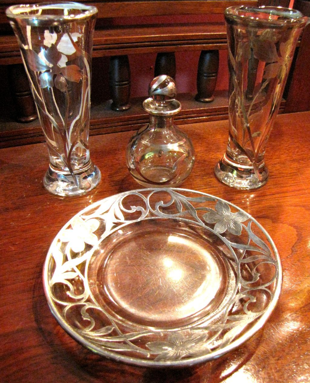 5 piece sterling overlay vanity set art nouveau for Art nouveau decoration