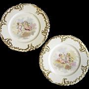 1893 Pair of Jean Pouyat Limoges Cherub Cabinet Plates