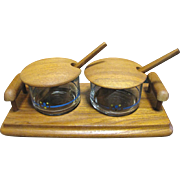 Retro Teak Condiment Server with Lidded Bowls & Spoons