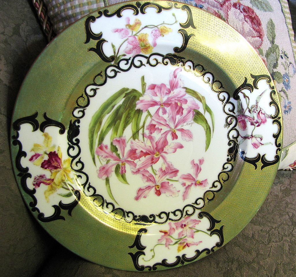 Beautiful Signed T&V Limoges Hand Painted Orchid Cabinet Plate
