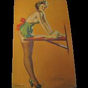"""1940's, """"In the Dough Pin Up Girl"""" Mutoscope arcade lithograph Elvgren Art Card"""