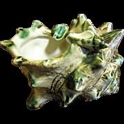 Unusual Oribe Art Pottery Shell Form Ashtray, Mid Century Japan