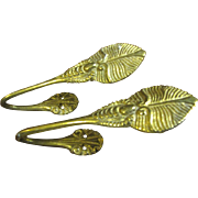 Lovely Pair of Solid Brass Leaf Design Curtain Tie Backs
