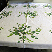 "Vintage Wilendur Tablecloth Ivy Pattern 52"" x 50"""