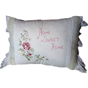 Charming Home Sweet Home Vintage Embroidered Pillow