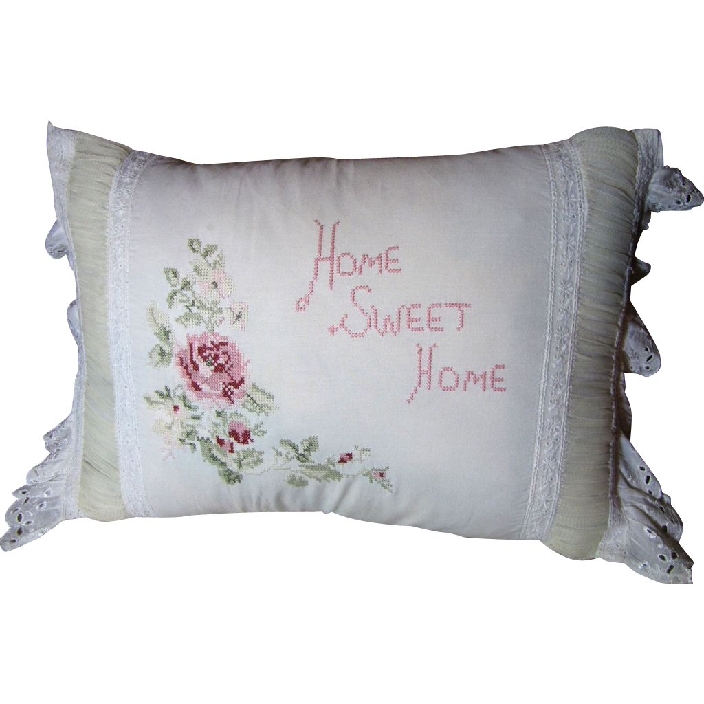 Charming Home Sweet Home Vintage Embroidered Pillow From