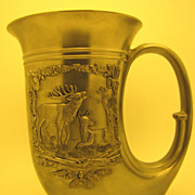 "Vintage Pewter Horn-of-Plenty ""Hunter"" Beer Stein, made in W. Germany‏"