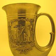 "Vintage Pewter Horn-of-Plenty ""Hunter"" Beer Stein, made in W. Germany"