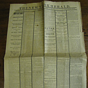 Early Reprint of Lincoln Assasination Ed. of 1865 The New York Herald Newspaper