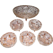 Super Set of Six EAPG Footed Serving Bowls