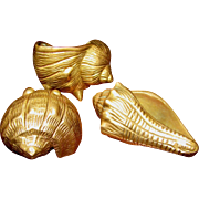 Three Cast Brass Seashells, Three Dimensional & Lovely!