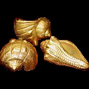 Three Cast Brass Seashells, Three Dimensional & Lovely!