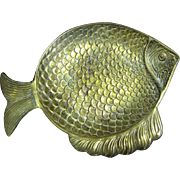 Large & Detailed Solid Brass Fish Dish
