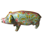 Vintage Ethnic Hand Made Pottery Piggy Bank