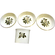 Bone China Cigarette Holder & 4 Ashtrays by Royal Worcester