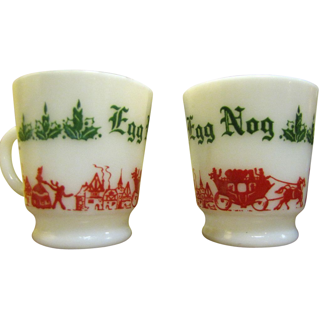 Fun Pair of Anchor Hocking Egg Nog Cups from faywrayantiques on Ruby ...