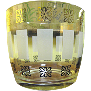 Nice 70's Retro Flower Decal Glass Ice Bucket