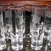 Eight Vintage Hand Cut Crystal Liqueur Glasses