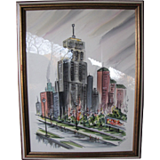 Mid Century Watercolor of the Palmolive Building Chicago, signed Renauld