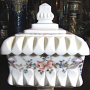 Westmoreland Roses & Bows Milk Glass Tall Lidded Compote or Candy Dish