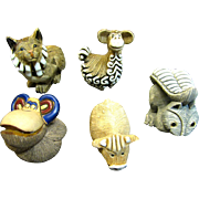 Group of 5 Vintage Artesania Rinconada Hand Made Ceramic Animals